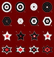 Design target and arrow icons on red background vector image