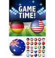 Flags on round balls and stadium vector image