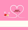 happy valentines day pink greeting card with vector image