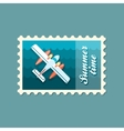 Hydroplane stamp Summer Vacation vector image