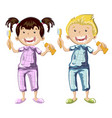 kids brushing teeth on a white background vector image