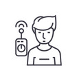 operator with remote controller linear icon sign vector image