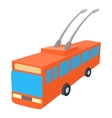 Red trolleybus icon cartoon style vector image