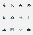 set of simple tourism icons vector image