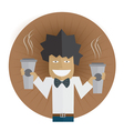 Waiter carrying two cups of coffee vector image