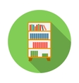 Wooden bookcase icon flat style vector image