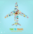 airplane silhouette with travel flat icons travel vector image