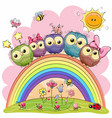 five owls on the rainbow vector image