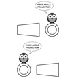First and Third Angle Orthographic Projection vector image vector image
