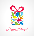 Christmas card template with cut out gift vector image