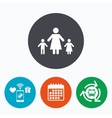 One-parent family with two children sign icon vector image