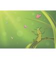 A green bug and butterflies cartoon vector image