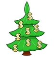 Christmas tree with dollar signs vector image
