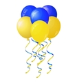 Glossy yellow and blue balloons stylized flag of vector image