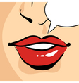 hand drawn pop art of beautiful red woman lips vector image