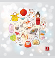 japan colored doodle sketch elements on white vector image