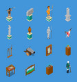 museum isometric icons set vector image