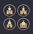 religion buildings icons set vector image