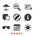 beach holidays icons umbrella and sunglasses vector image