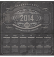 Ornate vintage calendar of 2014 year vector image
