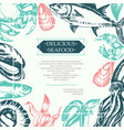 delicious seafood - color vintage postcard vector image
