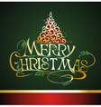 Christmas lettering with tree background vector image vector image