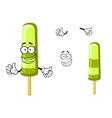 Happy green cartoon frozen ice cream vector image
