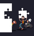 men with puzzle pieces on black background vector image