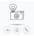 Retro camera TV remote and phone call icons vector image