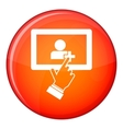 Touch screen tablet click icon flat style vector image