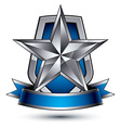 Renown silver star with wavy ribbon placed on a vector image