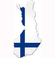Map of Finland with national flag vector image