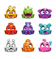 funny cartoon colorful glossy aliens set vector image vector image
