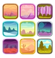 Rounded square app icons with nature landscapes vector image