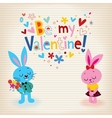 Bunnies in love Valentines day card vector image