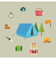 camping hiking icon set of map tent compass flag vector image