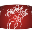 Christmas Card with decorative deers vector image