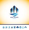 Real estate skyscraper building logo vector image