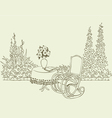Rocking chair in garden vector image