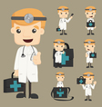 Set of doctor characters poses vector image