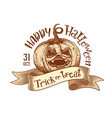 Trick or treat retro happy halloween sketch vector image