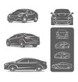 car icons set modern sedan vector image