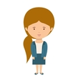 woman dressed formal style with ponytail hair vector image