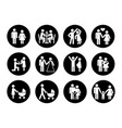 family icons set in black and white vector image