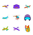 aviator icons set cartoon style vector image vector image