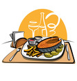 fried salmon and chips vector image