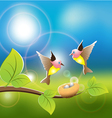 two birds fly on its nest vector image