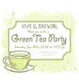 hand drawn green tea party invitation card vintage vector image