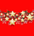 christmas seamless horizontal pattern of stars vector image