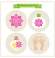 Flat Flower Beauty and Spa Icons Set vector image